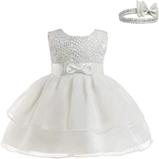 KINDOYO Baby Girls Dress - Baby Newborn Girls Tulle Wedding Bowknot Birthday Bridesmaid Party Tutu Princess Dresses