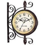 Reloj de pared vintage de doble cara con rotación de 360º de hierro forjado retro reloj de pared vintage industrial clásico relojes para interiores y exteriores, casa y jardín