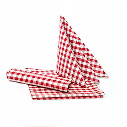 Textildepot24 - Manteles rústicos a cuadros, color y tamaño a elegir,100% algodón, algodón, rojo y blanco a cuadros, 40x40 cm - 6 Stück