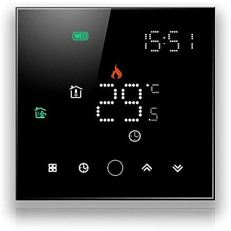 BecaSmart Series 003 Termostato Inteligente WiFi 16A Calefacción eléctrica Pantalla táctil LCD de Control de programación Inteligente con conexión WiFi (Calefacción eléctrica, Negro)