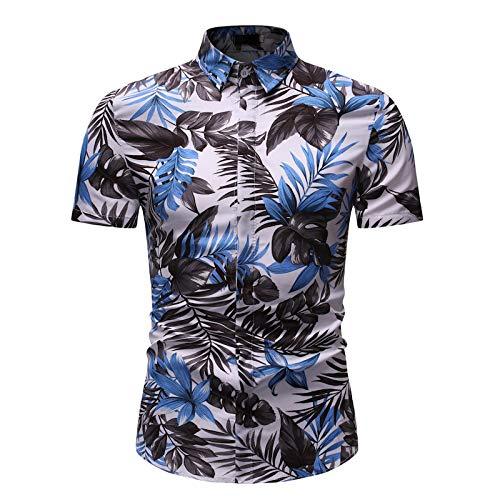 Camisa con Cuello Vuelto para Hombre, Estampado de piña, Moda de Verano, Informal, de fácil Cuidado, Camisa de Manga Corta, Camisetas de Cambray 3X-Large