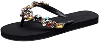 LJLLINGA Summer New Slippers Beach Crystal Bohemian Style Shoes Women Ladies Fashion Women Flat Casual Luxury Flip Flops