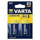 Varta 4122101411 Longlife Batteria Alcalina, 9V 6LP3146 Transistor, Confezione da 2 Pile - il design può variare