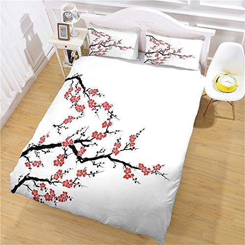 QNZOR Duvet Cover Sets Pillowcases Bedding Double Flower branch Print Polyester Breathable 2 pillowcases with Zipper Boys Girls Home Decoration 78.74 x 78.74 inch