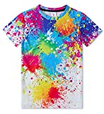 Idgreatim Cool Youth Adolescentes 3D T Shirt Ragazzo Ragazze Inchiostro colorato Maglie a Manica Corta, Taglia M 10-12 Anni, Colore Multicolore