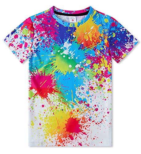Idgreatim Camiseta de manga corta para niños y niñas, con impresión 3D, 6-16 años 4 colores 9-11 Años