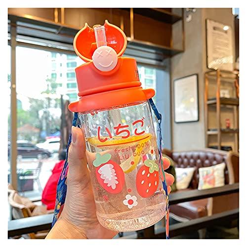 Xunsdzsw Taza de Agua Botella de Bebida de Fruta Linda de Verano Taza de plástico Transparente de Gran Capacidad (Capacity : 601 700ml, Color : Strawberry Bottle)