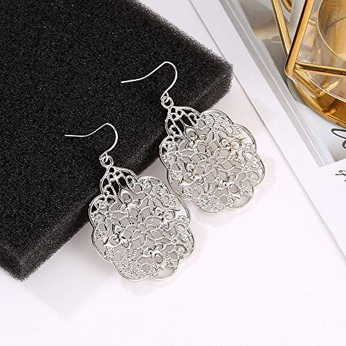 HINK Women Boho Earrings Jewelry Ethnic Drop Earrings Enamel Vintage Earrings Silver