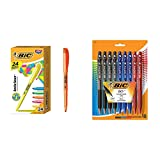 BIC Brite Liner Highlighter, Chisel Tip, Assorted Colors, 24-Count &  BU3 Grip Retractable Ball Pen, Medium Point (1.0 mm), Assorted Colors, 18-Count
