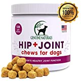 Genuine Naturals Glucosamine Chondroitin, MSM, Organic Turmeric Soft Chews, Hip and Joint Supplement for Dogs, Supports Healthy Joint...