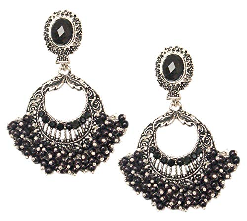 Pahal Traditional Antique Black Pearl Silver Jhumka Earrings South Indian Bollywood Temple Wedding Jewelry for Women