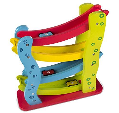 WOOMAX - Roller de madera con 4 coches (ColorBaby 42136)