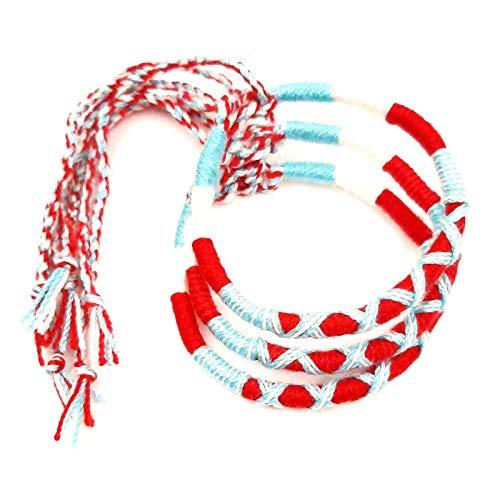 Lote de 3 pulseras brasileñas de la amistad de algodón trenzado, macramé, amuleto de la suerte para hombre, mujer, niña, niña, azul, blanco y rojo