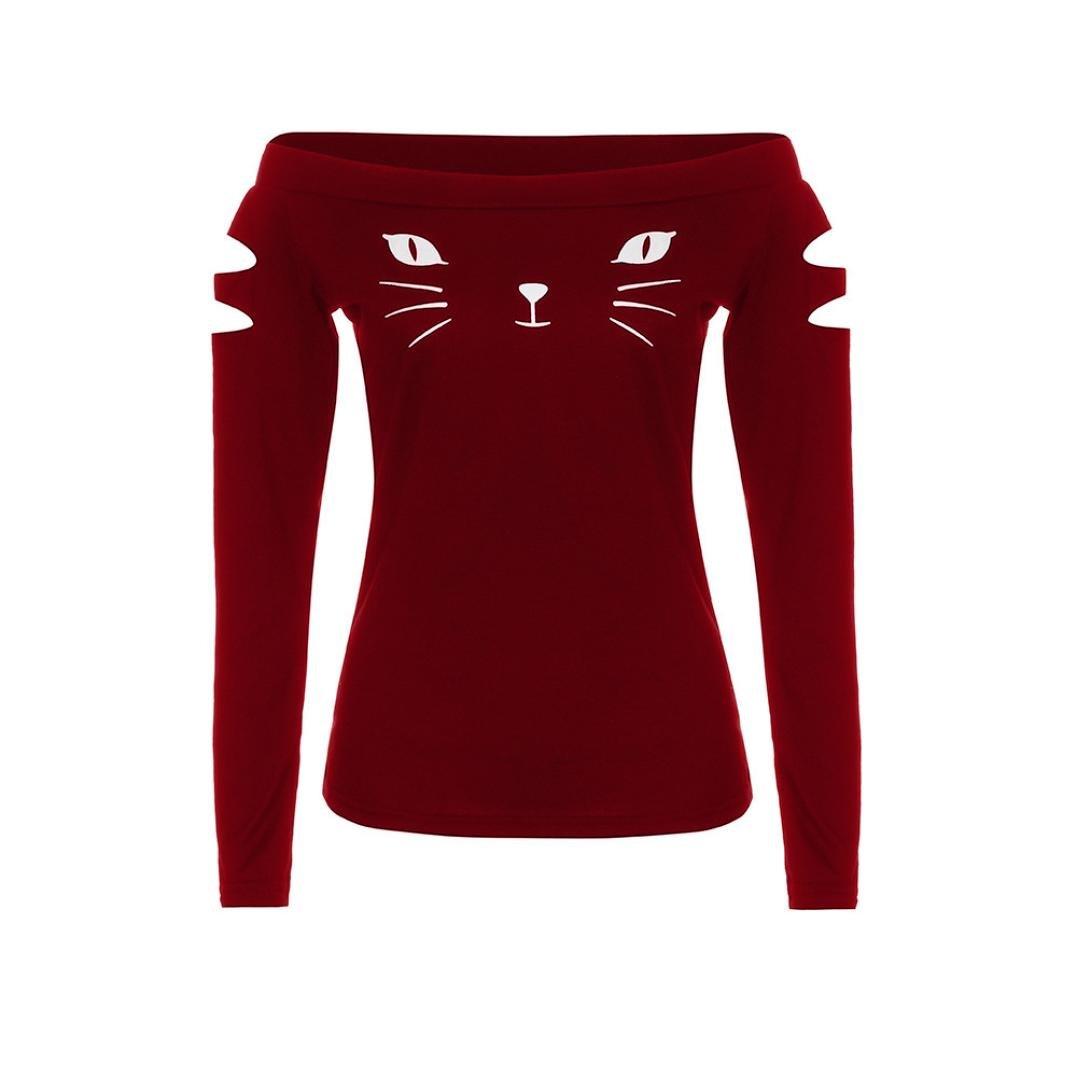 疑問を超えてわずらわしい補助SakuraBest 女性スラント長袖ブラウス猫プリントTシャツ