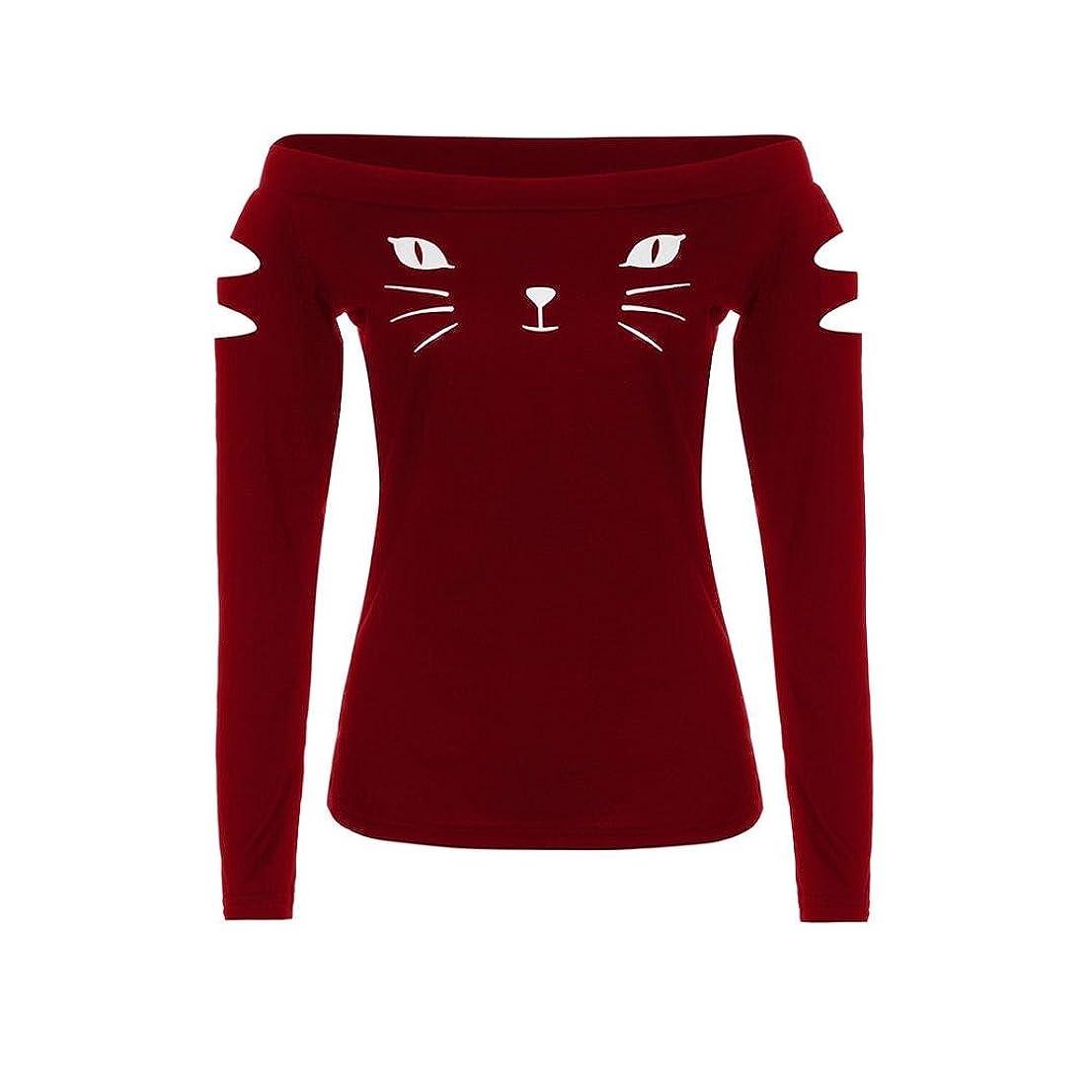 上ケント体操SakuraBest 女性スラント長袖ブラウス猫プリントTシャツ