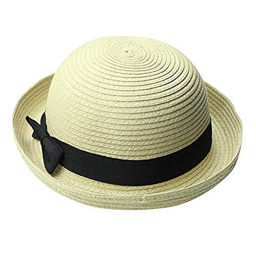 JUNGEN Sombrero de Paja de Mujer Sombrero de bombín con Decoración del Lazo y Diseño de ala Rizado Sombrero de Playa Sombrero de Sol para Primavera Verano (Beige)