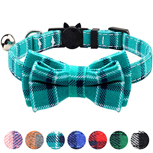 TagME Breakaway Cat Collar, Cat Safety Collar with Cute Bow Tie & Bell, Plaid Design Adjustable for Kitty 1 Pack, Teal