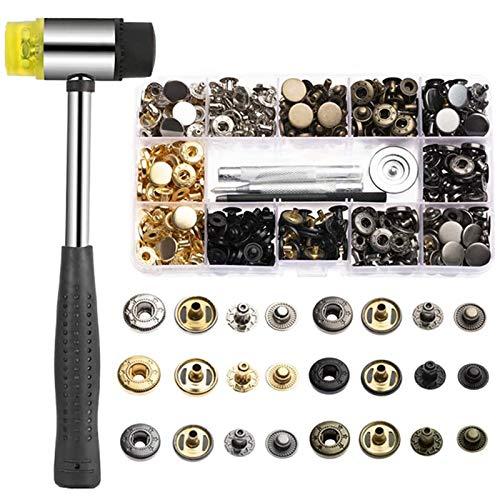 TOPSEAS Remaches de Cuero,Remache de Doble 120 sets de corchetes metal artesanía de kit snap botón para reparar chaqueta de 12mm snaps botones de presión de cuero de herramineta conjunto bronce