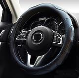 ontto ハンドルカバー ステアイングカバー フィット感を重視 スポーツ風 38cm Mサイズ 触感よく 滑り止め 汚れ防止 通気性いい マイクロファイバー革 ブラック