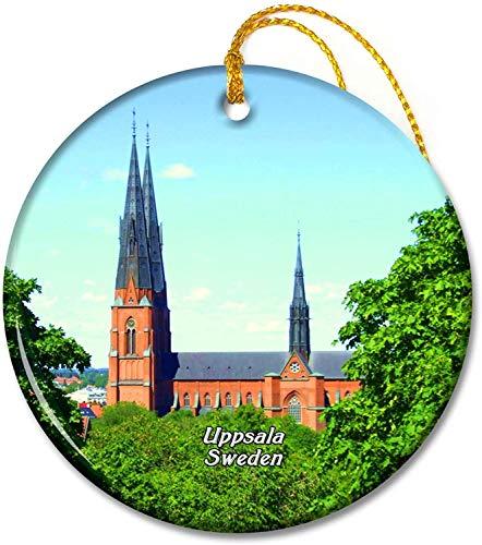 Sverige Uppsala domkyrka Ornamenter 2,8 tums keramisk rundprydnad Pandent för familjevänner