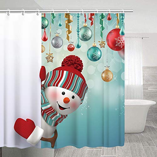 Stacy Fay Shower Curtain Happy Snowman Peekaboo and Balls Winter Holiday Merry Christmas Waterproof Polyester Fabric Bath Curtain 70.8 Inches with Hooks