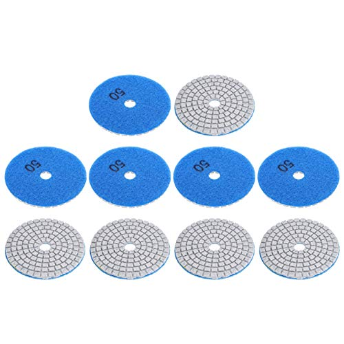 Discos de lijado de 7,6 cm, grano 50, diamante de grano 50, disco de lijado para piedras de hormigón de mármol 50 malla (azul)