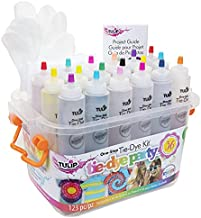 Tulip One-Step Tie-Dye Party, 18 Pre-Filled Bottles, Creative Group Activity, All-in-1 Fashion Design Kit, 1 Pack, Assorted