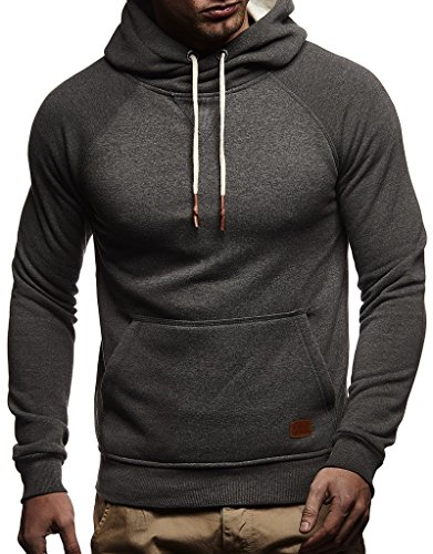 Leif Nelson Herren Pullover Hoodie mit Kapuze Moderner Sweatshirt-Pullover Langarm Sweatshirt Slim Fit LN8125 Anthrazit Medium
