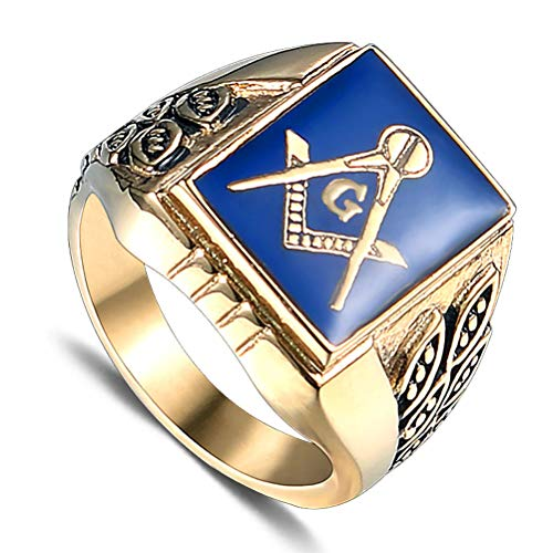 Men's Gold Color AG Masonic Freemason Rings, Illuminati Stainless Steel The All-Seeing-Eye Punk Hip Hop Style Gift Jewelry, Party Prom Personality Evil Eye Ring, 7 To 13 Size,13