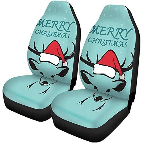 Autostoelhoezen rood van herten en kerstmuts op blauw vrolijk auto-accessoires beschermers universeel