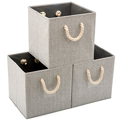 EZOWare 3 pcs Cajas de Almacenaje, Cubo Decorativa de Tela Plegable Resistente con Manijas para Ropa, Juguetes, Armario, Dormitorio, Estanterías y Mas - Color Gris (33x33x33cm)