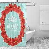 FANTAZIO Duschvorhang Hawaii Aloha Girlande Design Polyester Badvorhang mit dicken C-förmigen Haken für Badezimmer Wasserdicht langlebig & super wasserdicht 182,9 x 182,9 cm
