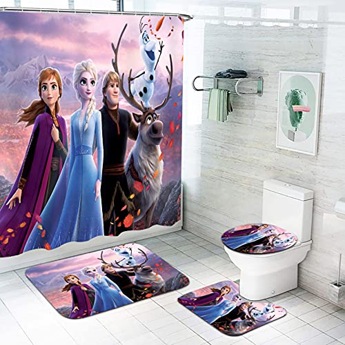 Fgolphd Duschvorhang Frozen 180x200180x180 Cartoon Anna Und ELSA Shower CurtainsWasserdicht Badezimmerteppich 4-teiliges Set (180 * 180,2)