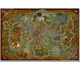 World of Warcraft Mapa Cartel Pintura De La Lona Arte De La Pared Pegatinas De Pared Wow Juego Cartel Mapa del Mundo Papel Pintado Decoración De La Sala 50 × 70Cm Sin Marco