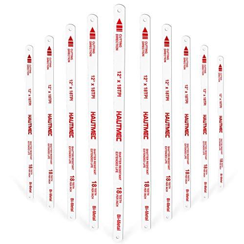 HAUTMEC Hojas de repuesto para sierras de arco BI-METAL (paquete de 10) Dientes con conexión a tierra de acero de alta velocidad 18 TPI x 12