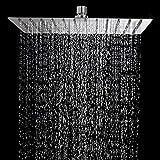 STARBATH Soffione Doccia Quadrato, 30x30cm, Ultra Sottile Soffioni Doccia a Pioggia con anticalcare in Acciaio Inox, Argento, 12 Pollici