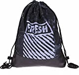 Loomiloo Leder Beutel Turnbeutel mit coolem Aufdruck - Tasche Rucksack Jutebeutel Sportbeutel Gym Bag Gymsack (Fresh Graffiti)