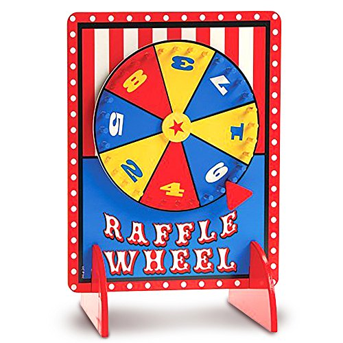 Gamie Tabletop Spinning Raffle Wheel with Stand Premium Quality Wood Spinning Carnival Wheel - Tabletop Prize Spinner Wheels for Boys and Girls, Kids' Parties, Classroom and More