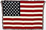 United States American Flag - Cotton Woven Blanket Throw - Made in The USA (50x35)