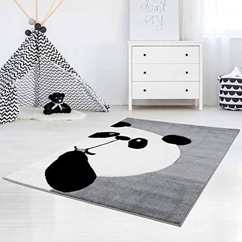 carpet city Kinderteppich Flachflor Bueno Panda-Bär in Grau mit Konturenschnitt, Glanzgarn für Kinderzimmer; Größe: 80x150 cm