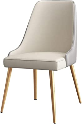 LJFYXZ Dining Chairs Dressing Chair PU Leather seat Home Office Armchair Kitchen Living Room with Metal Legs 52x45x88cm (Color : Beige)