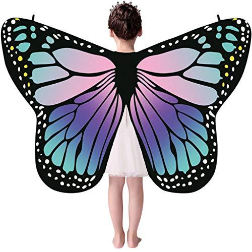 Auiyut Frauen Kinder Schmetterling Kostüm Butterfly Wings mit Schwarzem Kragen Schal Ladies Karneval Flügel Umhang Poncho Kostüm Zubehör für Show Daily Party Halloween (B-Lila, FREIE GRÖSSE)