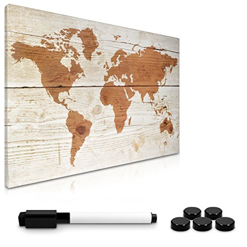 Navaris Tablero de Notas magnético - Tablero de recordatorios 40x60 cm Lavable - con Diferentes diseños - Incluye lápiz imanes y Soporte