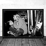 Toile Peinture Peinture À l'huile Kurt Cobain Rock Musique Bande Musique Chanteur Étoile Noir Blanc Affiche Imprime Mur Art Photos Salon Décor À La Maison 40 × 60 Cm sans Cadre