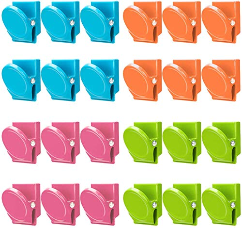 Magnetic Clips, 24 Pieces Magnetic Metal Clips,Colored Magnetic Metal Clips,Perfect Fridge Magnets Kitchen Magnets Whiteboard Magnets,Memo Note Clips Magnets Metal Clip