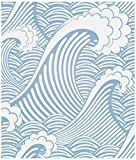 Birwall Peel and Stick Cute Blue Sea Water Waves Occean Waves Sea Spray Self Adehsive Wallpaper Wall Mural Contact Paper Wall Decor (17.7'x236')