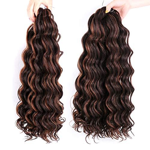 LEEONS Ocean Wave Hair - 20 Inch (4-Pack, P4-30) Crochet Wavy Hair Ombre Deep Twist Braiding hair