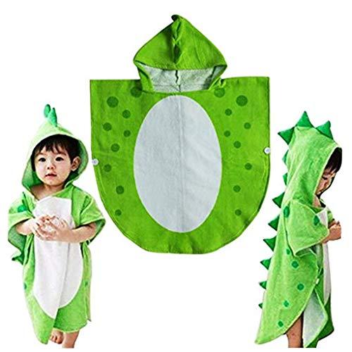 Handtuch-Poncho für Kinder, mit Kapuze, Dinosaurier-Design, ideal für den Strand, grün, 55cm*110cm