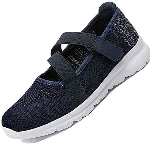 [MISIKEKE] 安全靴 ナースシューズ レディース メンズ スニーカー 超軽量 高齢者シューズ スリッポン 介護シューズ 快適 中高齢者靴 ウォーキングシューズ 看護師 婦人靴 男女兼用 22.5cm-28.0cm、ブルー、25.5cm