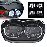 Sunpie 5-3/4' Black Motorcycle Projector Day Maker Dual LED Headlight for 2004~2013 Road Glide